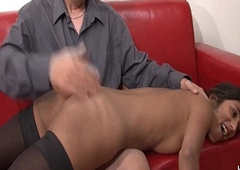 Casting couch amateur french couple with a skinny young brunette analyzed