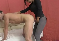 Hot Indian Sex Analyst Fucks Chap with Strapon and Titty Fucks him